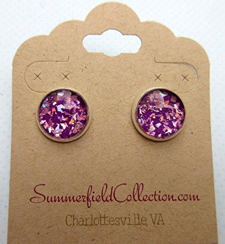silver-tone-purple-shard-glitter-glass-stud-earrings-1-2-round