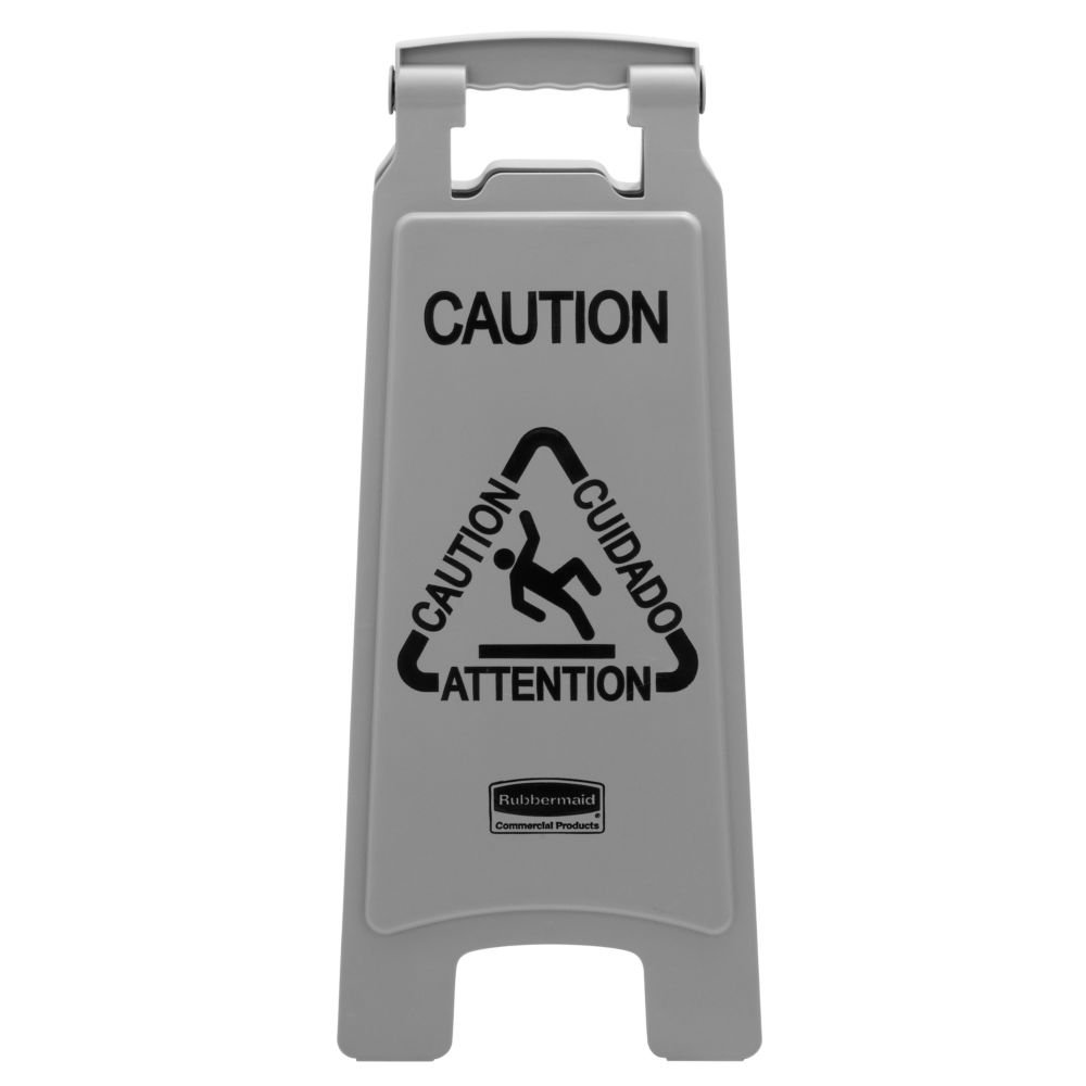 Rubbermaid Commercial Products 1867506 Executive Series Multi Lingual Caution Sign 2 Sided Gray