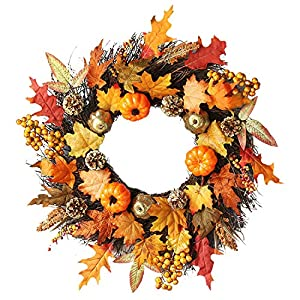 ZTY66 Christmas Wreath, Garlands, 60cm Rattan Berry Maple Leaf Fall Door Wreath Door Wall Ornament Halloween 1