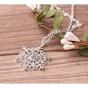 Thanyaluk Christmas Gift Snowflake Rhinestone Crystal Charm Pendant Necklace Chain Jewelry