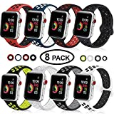 DOBSTFY Sport Band Compatible with iWatch 38 40 42 44mm,Soft Silicone Sports Band Replacement Wristband Strap Compatible for iWatch Series 4/3/2/1, Men/Women, 38 40mm M/L, 8 Pack