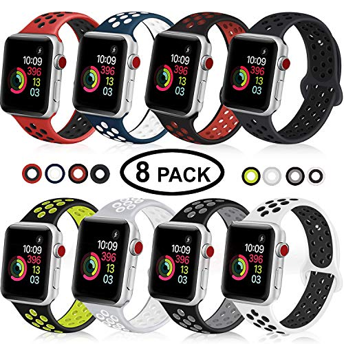 DOBSTFY Sport Band Compatible with iWatch 38 40 42 44mm,Soft Silicone Sports Band Replacement Wristband Strap Compatible for iWatch Series 4/3/2/1, Men/Women, 38 40mm S/M, 8 Pack