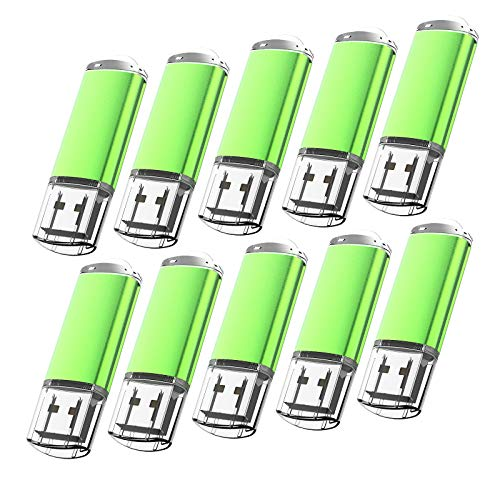 10 Pack Flash Drive 1GB USB 2.0 Thumb Drive Capped Memory Stick by Kootion, Green