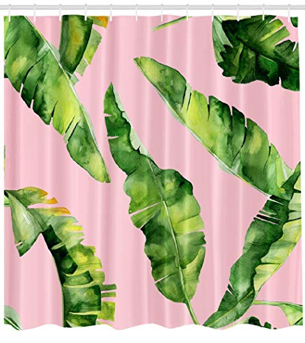 LILYMUA Wallpaper Fabric Bathroom Shower Curtains, Watercolor Tropical Leaves Jungle Pattern with Tropic with Bath Curtain Hooks Polyester Shower Curtain Waterproof Bathroom Decor 72x78 Inch