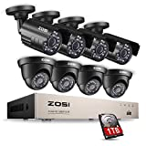 ZOSI 8CH 1080P Security Cameras System Surveillance Dvr with 2.0MP (8) Waterproof Security Cameras & 1TB Hard Drive for Home Office Security Outdoor Indoor & Motion Detection