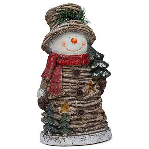 Mark Feldstein Cozy Twiggy Snowman LED 10.5 x 17 Resin Decorative Door Greeter (Bird Chime Clock)