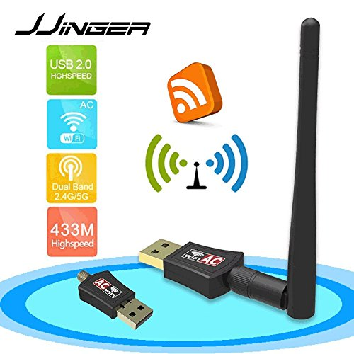 JJINGER Wifi Adapter- AC600 Dual Band 2.4G / 5G Wireless Network USB Wifi Dongle for Tablet Laptop Destop PC,Support Win 10/8/7/Vista/XP/2000, Mac Os (Windows Xp Tablet Review)