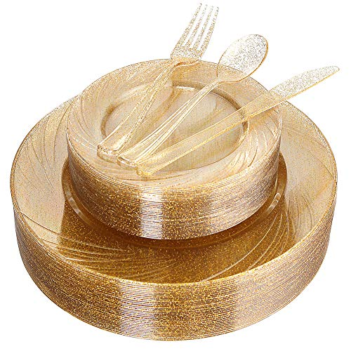 WDF 40Guest Gold Plates with Disposable Plastic Silverware,Gold Glitter Design Plastic Tableware sets include 40 Dinner Plates,40 Salad Plates,40Forks, 40 Knives, 40 Spoons (Gold Glitter Dinnerware)