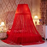 Mosquito net bed canopy - lace dome netting bedding-red 200x200cm(79x79inch)