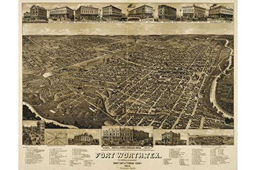 Map of Fort Worth, Texas 1886; Antique Bird's Eye Map; Custom Printed to Order