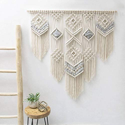 "Knitt World Macrame Wall Decor Hanging - Bohemian Home Geometric Art Decor - Macrame Curtain-Macrame Wedding Backdrop for Christmas & Holiday Decorations W 38"" x L 39"" Inch (1)"