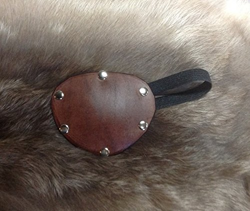 Medium Brown Leather Eye Patch Studded Theater Stage TV Medical Cosplay Steampunk 02a]()
