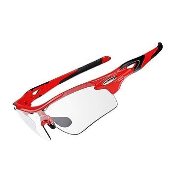 RockBros Gafas de Ciclismo fotocromáticas polarizadas, gafas de sol para el deporte al aire libre, rojo: Amazon.es: Deportes y aire libre