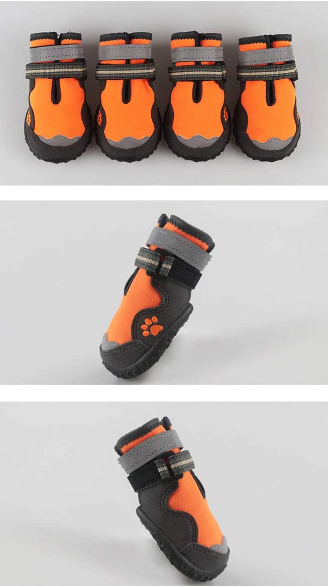 EVIICC Dog Shoes Waterproof Dogs Hiking Boots Warm Outdoor Sport Shoes with Anti-Slip Sole Breathable 4PCS