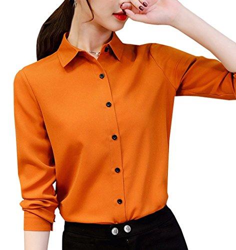 Femmes Blouses Tee Printemps Chemisiers Shirts Slim Hauts et Revers Casual Manches Chemises Tops Longues Automne New Marron f4YrPfx