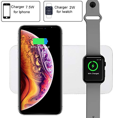 COSOOS Wireless Charger,2 in 1 Qi Wireless Charging Pad Stand,Compatible with iWatch Series 1/2/3/4/Nike+/Edition,38 & 42mm,iPhone Xs MAX/XR/X/8,Samsung Galaxy S9/S8/Note 8(New Upgraded)