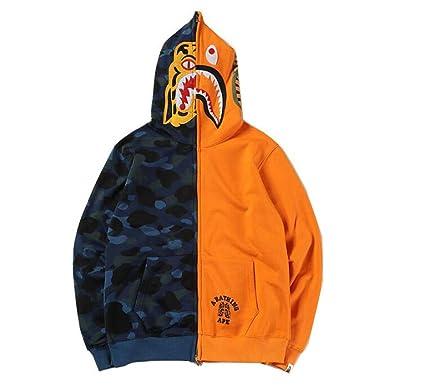 e71145a5 DuoLu Bape Fashion Print Cotton Zip Cardigan Hoodie Casual Sweater Men/Women  at Amazon Men's Clothing store: