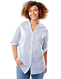 Women's Plus Size Mandarin Collar V-Neck Perfect Shirt