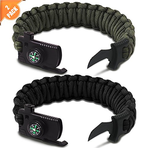 Braylin Protection Paracord Bracelet, 2 pcs Camping Paracord Survival Bracelet Kit, Outdoor Hiking Travelling Hunting Gear, Emergency Tactical Parachute Rope Bracelet, Compass, Flint Stone, Fire Start