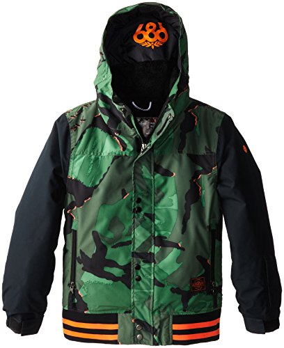 686 Boys Authentic Junior Varsity Jacket, Green Camo Glo, La