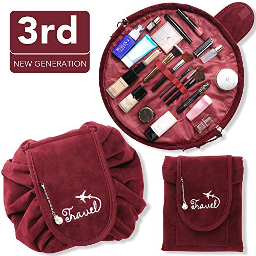Drawstring Makeup Bag, 3rd Generation Large Capacity Portable Cosmetic Bag, Travel Toiletry Lazy Velvet Bag, Storage Organizer Pouch for Women Girls, Quick Pack, Waterproof & Zipper (Wine Red) Fnova