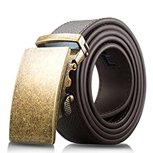 Men's Genuine Leather Belt- Ratchet Black Dress Belt for Men with Automatic Buckle. (Up to Size 46, Brown With Buckle #08)