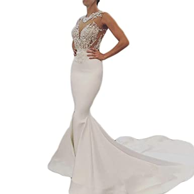 Bling Mermaid Wedding Dress with Open Back