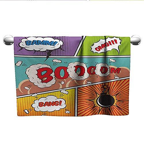 alisoso Superhero,Decorative Bathroom Towels Retro Comic Strip Speech Bubbles Funny Pop Art Stylized Vintage Hobby Style Image Machine Washable Multicolor W 20