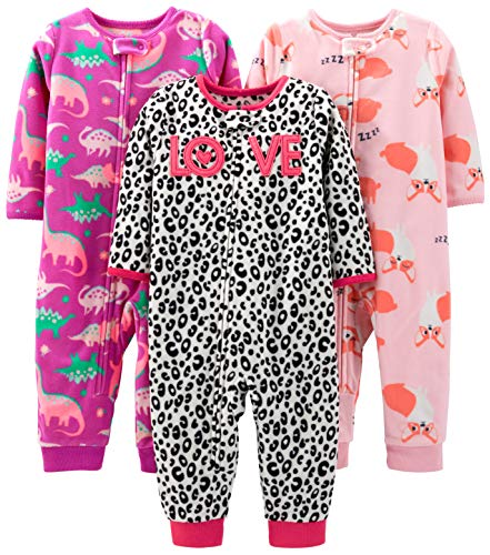 Simple Joys by Carter's Girls' 3-Pack Loose Fit Flame Resistant Fleece Footless Pajamas, Fox/Dino/Leopard Print 12 Months