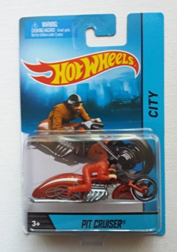 Hot Wheels Hw City Orange Pit Cruiser Motorcycle & Rider, Hot Wheel Chopper Die-cast Collectible, HW City Biker