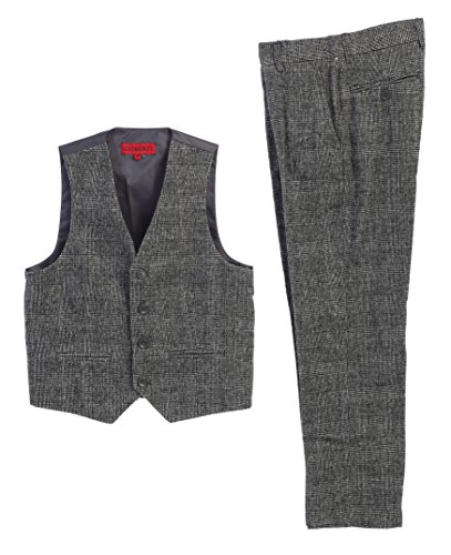 Gioberti Boy's 2 Piece Tweed Plaid Vest and Pants Set, Gray, Size 12