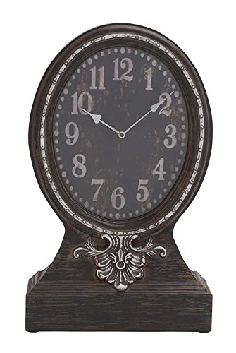 Outdoor Textured Rust Finish Clock (Deco 79 Wood Table Clock, 15 by 24-Inch)