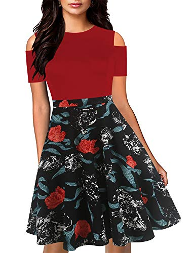 oxiuly Women's Chic Cold Off Shoulder Floral Flare Patchwork Party Cocktail Casual Swing Dress with Pockets OX266 (XL, Wine-RedF)