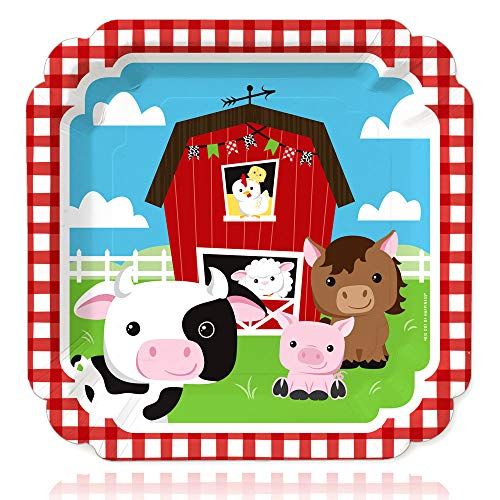 Farm Animals - Barnyard Baby Shower or Birthday Party Dinner Plates (16 Count)