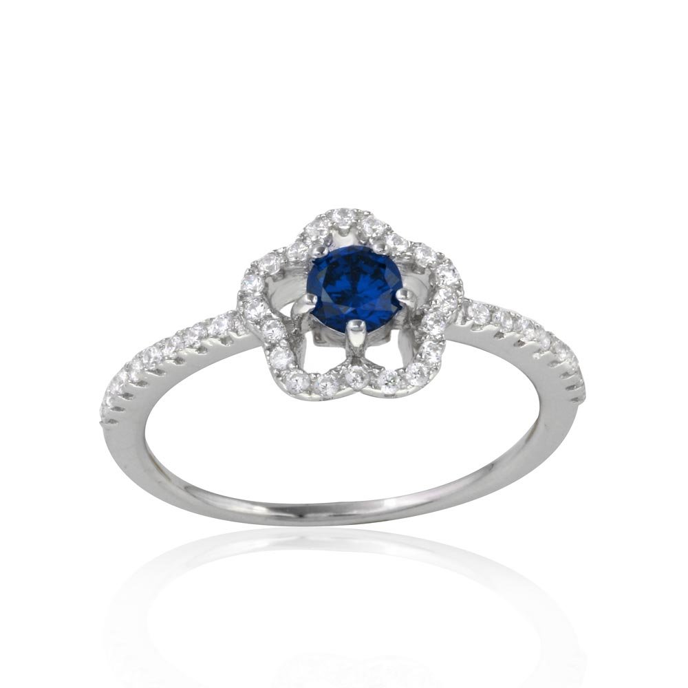 Princess Kylie Pave Set Cubic Zirconia Flower Shaped Ring Rhodium Plated Sterling Silver