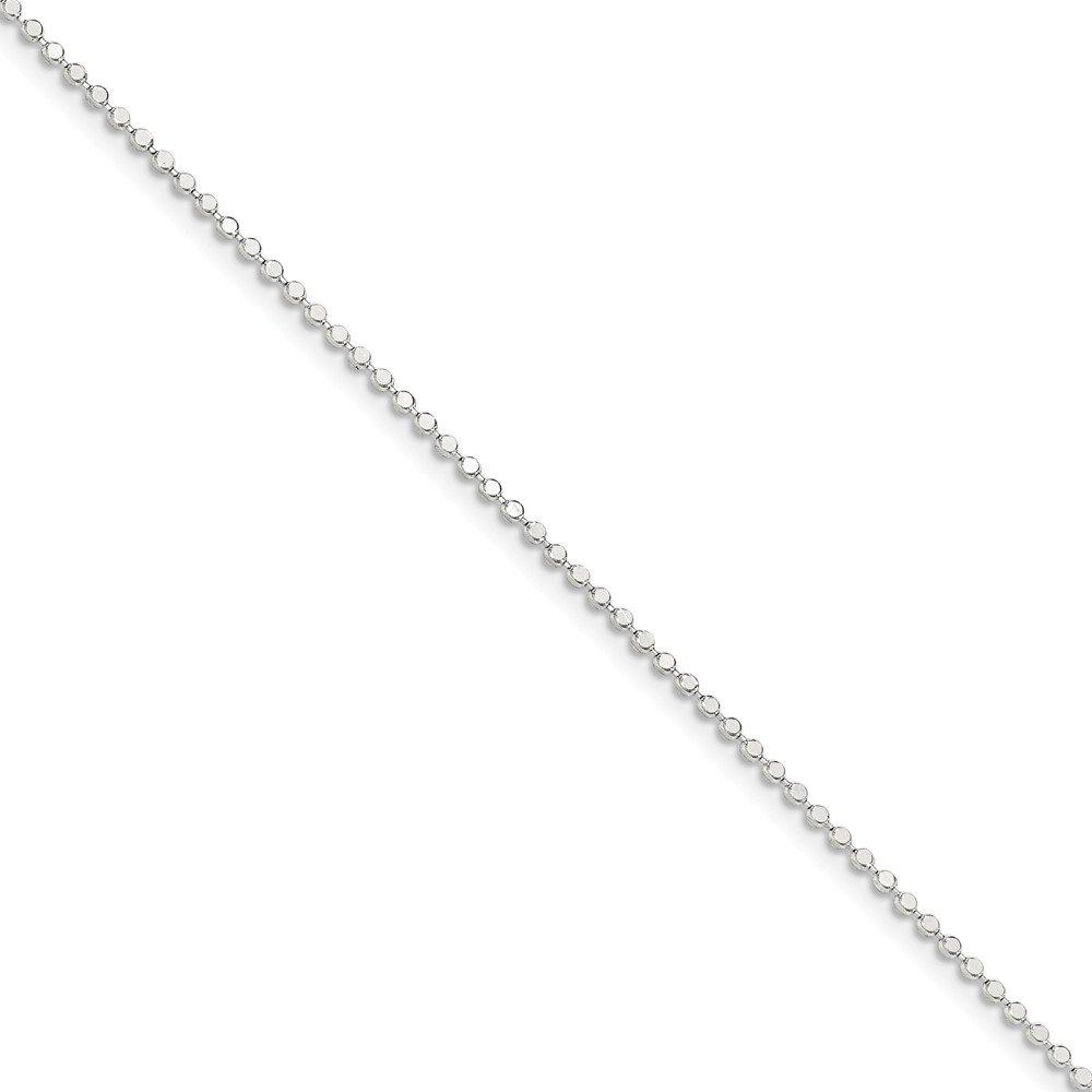 ソリッド925スターリングシルバー1.15 MM正方形ビーズチェーン 9.0 インチ  B076BQ1JD9