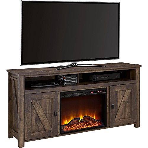 Ameriwood Home Farmington Electric Fireplace TV Console for TVs up to 60, Rustic