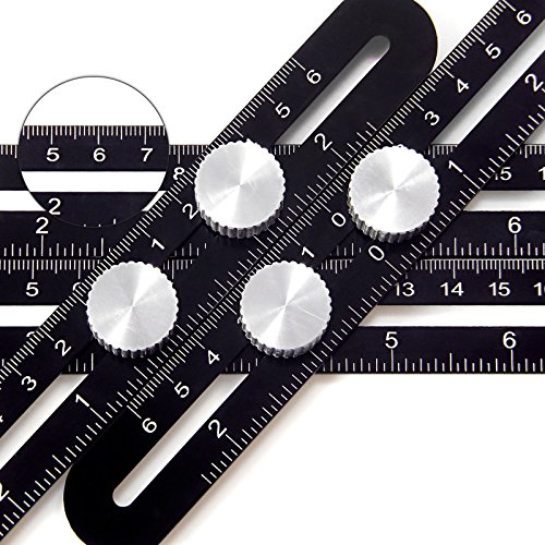 Multi Angle Measuring Ruler, Dr.meter Precise Angle Ruler Template Tool Ruler, Premium Aluminum Alloy Easy Angle Ruler, Layout Tool with Laser Engraving for Handymen, Carpenters (Black 1-Pack)