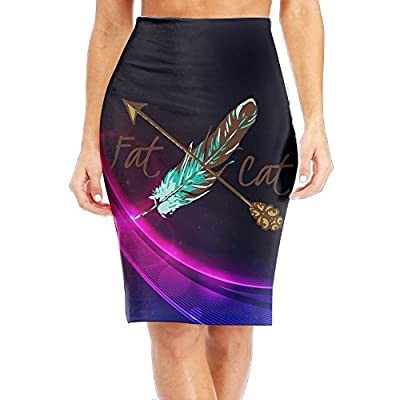 LULULUON Women Fat Cat Feather and Arrow Comfortable Office Skirts Midi Pencil Skirt Slim Fit Business Skirt supplier