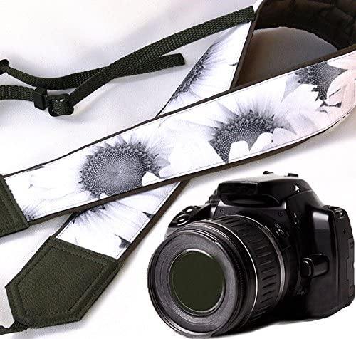 Black and White Floral Camera Strap Light and Well Padded Camera Strap Wedding Camera Strap Durable Grey Sunflowers Camera Strap Black DSLR//SLR Camera Strap Code 00148