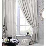 Olivia Rocco Faux Silk Ring Top Eyelet Curtains, Fully Lined Ready Made Curtain Pair , Silver (66 (Width) x 90 (Drop)) by Olivia Rocco