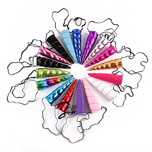 10PCS.Children Party Favors Pack, Shiny Unicorn Horn Glitter Elastic Headband Spiral Unicorn Horn Cosplay Balloons add a festive touch to all your events