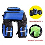 EASY BIG MTB Bike Rack Bags Bike Rack Trunks 3 in 1 Detachable – Bicycle Panniers Rear Rack Bag with Waterproof Cover for Capacity: 65L