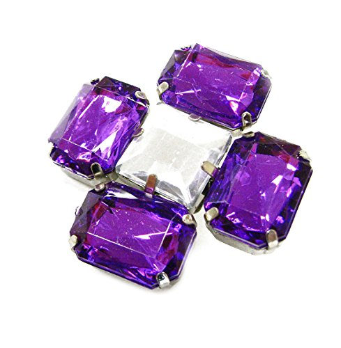 Linpeng Multi-Purpose Flower Shape Acrylic Jewel Stone Pin Brooch-FSBR-12-Purple, Purple ()
