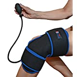 Reusable Ice Pack for Knee - Cold Therapy Compression Wrap with Air Pump for Pain Relief - Long Cooling Retention Gel Pack - Inflatable Knee Brace for Sprains, Swelling & Sports Injuries (Black) (Color: Black, Tamaño: One size fits all)