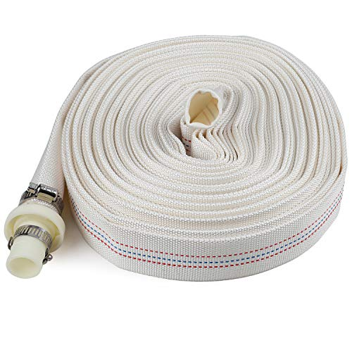 jiaxiaotong Garden Hose 1 Inch x 65 Feet Length, Agricultural Irrigation Water Hose Set Using Durable Polyester with Connector and Stainless Clamps for Outdoor Lawn Car Washing Watering Plants ()