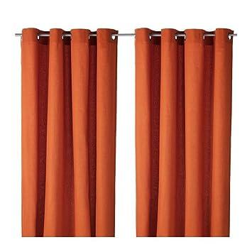 IKEA MARIAM Gardinenpaar in orange; (145x300cm): Amazon.de: Küche ...