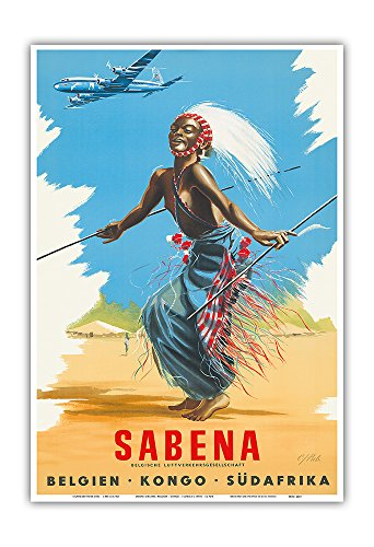 Pacifica Island Art Belgien Kongo Sudafrika (Belgium Congo South Africa) - Sabena Airlines - African Tribal Dancer - Vintage Airline Travel Poster by CJ Pub c.1950s - Master Art Print - 13in x 19in