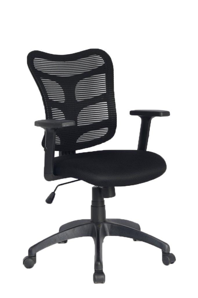 Viva Office Chaise ergonomique pour bureau en maille avec dossier moyen - appui-tête et accoudoirs réglables - Noir