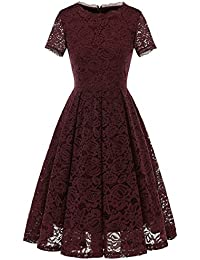 Womens Bridesmaid Vintage Tea Dress Floral Lace Cocktail Formal Swing Dress